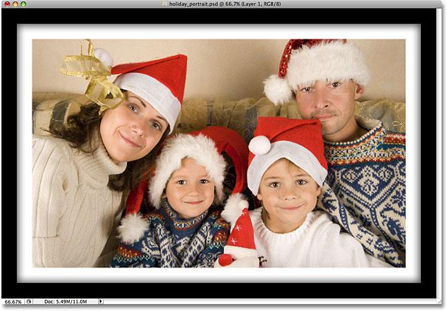 Фоторамка, созданная с использованием стилей слоя в Photoshop.  Image © 2008 Photoshop Essentials.com.
