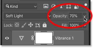 Точная настройка контрастности изображения с помощью параметра «Непрозрачность» на панели «Слои» в Photoshop.