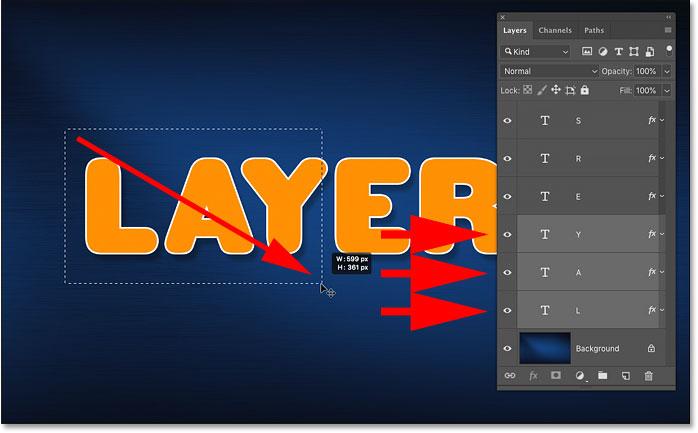 Рисование выделения с помощью инструмента «Перемещение» для автоматического выбора нескольких слоев в Photoshop
