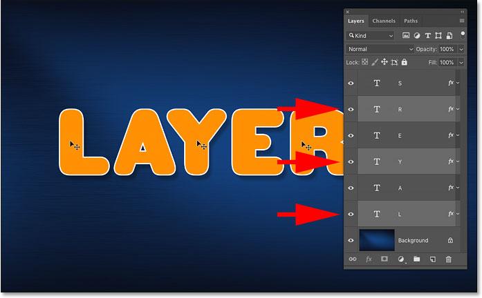 Нажатие Shift для автоматического выбора нескольких слоев в Photoshop