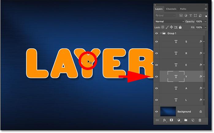 Автоматический выбор одного слоя в группе слоев в Photoshop