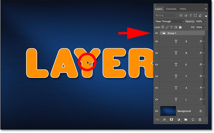 Как автоматически выбрать группу слоев в Photoshop