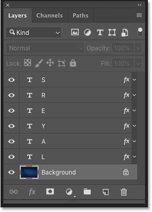 Панель «Слои» в Photoshop, показывающая слои в документе