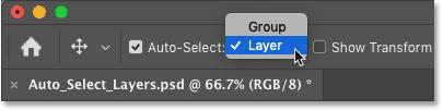 Как переключить функцию автоматического выбора в Photoshop между слоями и группами слоев