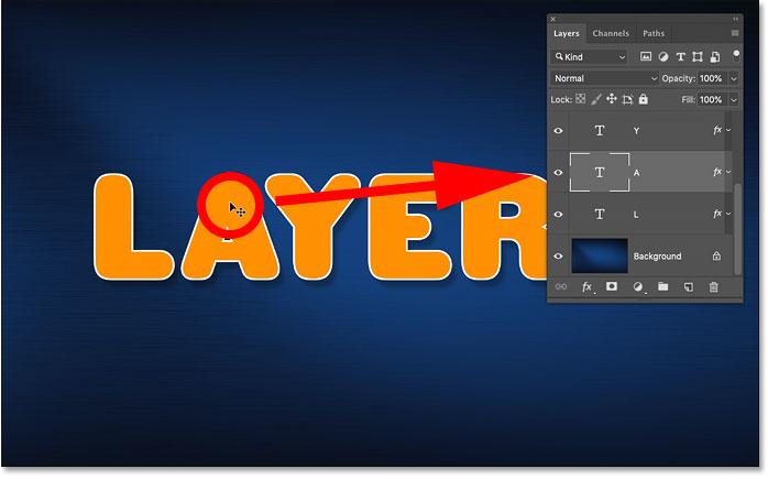 Автоматический выбор другого слоя в документе Photoshop