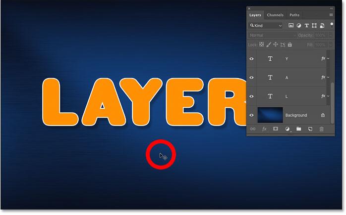 Отмена выбора всех слоев, щелкнув содержимое фонового слоя в документе Photoshop