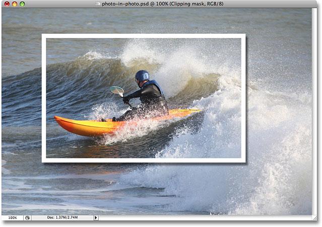 Тень, примененная к изображению.  Image © 2008 Photoshop Essentials.com.