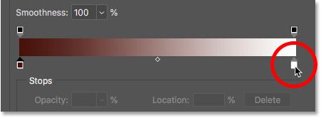 Двойной щелчок по правильному цветовому ограничителю для градиента