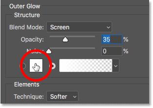 Изменение цвета эффекта слоя Outer Glow в Photoshop