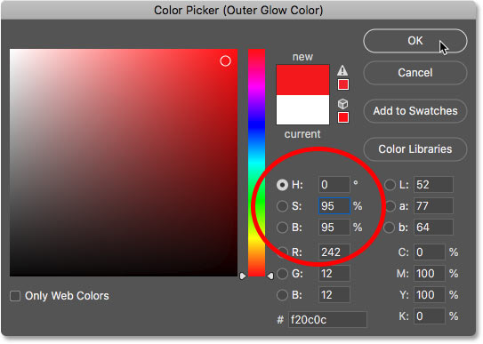 Установка ярко-красного цвета Outer Glow в Photoshop