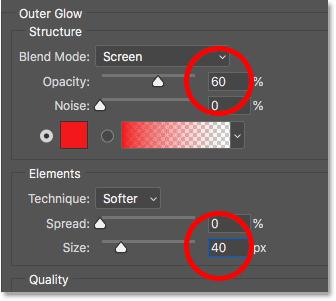 Установка непрозрачности и размера эффекта «Внешний слой свечения» в Photoshop