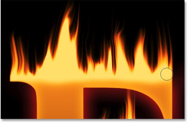 Смешивание вершины первой буквы в огонь