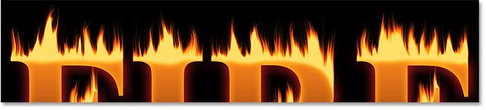 Результат после смешивания верхней части букв в огонь