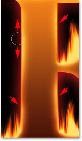 Рисование вдоль случайных частей краев буквы, чтобы добавить свечение