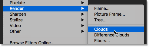 Применение фильтра «Облака» к слою в Photoshop