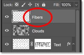 Новый слой Fibers будет использоваться для добавления текстуры в пламя.