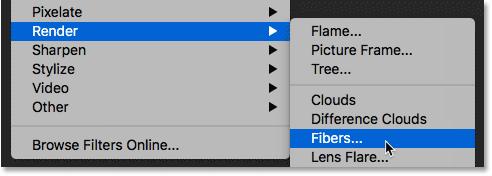 Выбор фильтра Photoshop's Fibers
