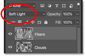 Смешивая текстуру волокон в огонь, изменив режим смешивания на Soft Light