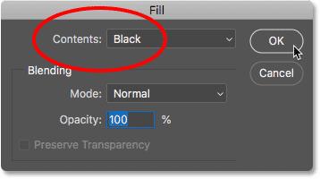 Установка для параметра «Содержание» значения «Черный» в диалоговом окне «Заливка» в Photoshop