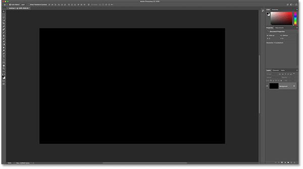 Документ Photoshop после его заполнения черным