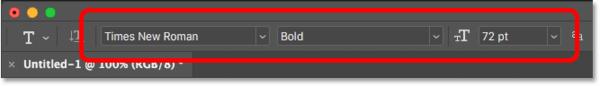Выбор шрифта и размера шрифта на панели параметров в Photoshop