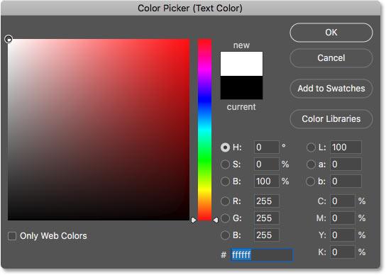Установка цвета шрифта на белый в палитре цветов в Photoshop