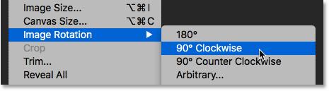Выбор поворота изображения на 90 градусов по часовой стрелке в Photoshop