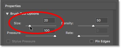 Уменьшение размера кисти в фильтре Liquify в Photoshop