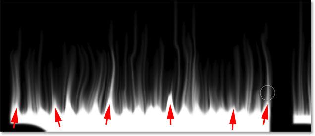 Рисование маленьких огоньков вдоль вершин букв в фотошопе