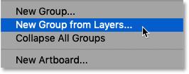 Выбор новой группы из слоев в меню панели «Слои» в Photoshop