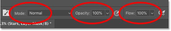 Параметры инструмента «Кисть» на панели параметров в Photoshop