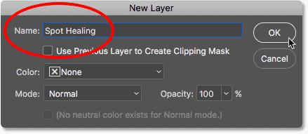 Называя новый слой «Spot Healing» в Photoshop