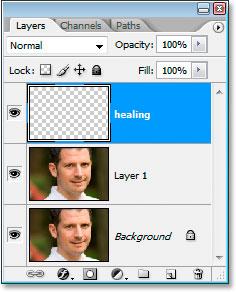 Палитра слоев Photoshop с новым целительным слоем