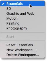 Меню выбора рабочего пространства в Photoshop.