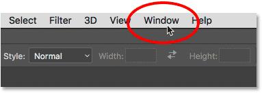 Открытие меню «Окно» в строке меню Photoshop CC.