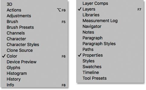 Каждая из панелей Photoshop может быть открыта и закрыта из меню Window.