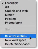 Выбор параметра «Сбросить основы» в Photoshop CC.