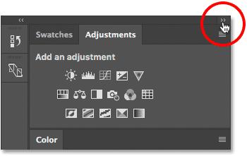 Свертывание основной колонны панелей в Photoshop CS6.