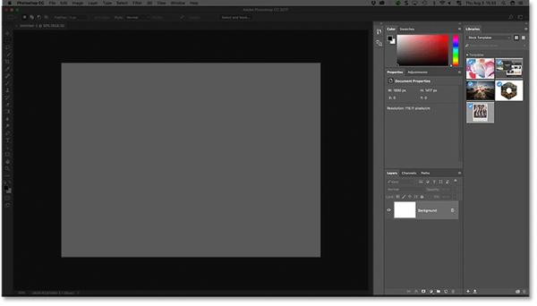 Область панели справа от интерфейса Photoshop CC.