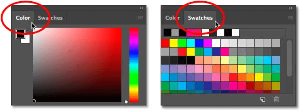 Переключение между панелью «Цвет» и «Образцы» в Photoshop CC.