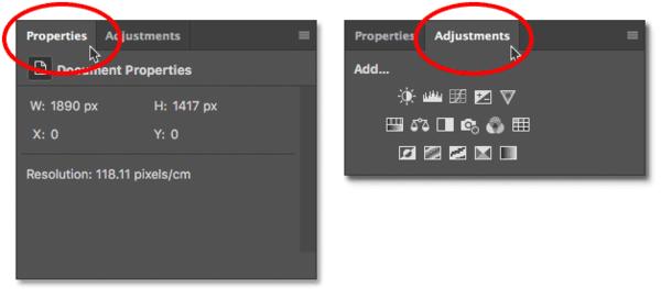 Переключение между панелями в группе панелей в Photoshop.