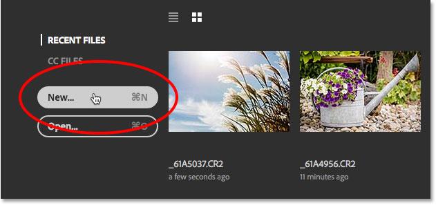 Нажатие на кнопку «Новый» на начальном экране.