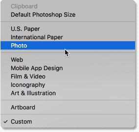 Выбор категории фото.