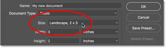 Нажав на параметр «Размер» в устаревшем диалоговом окне «Новый документ».