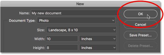 Нажмите кнопку ОК в диалоговом окне «Новый документ».