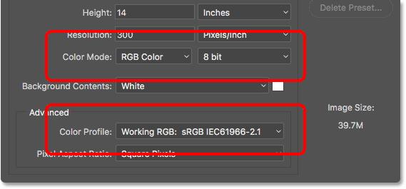 Параметры Цветовой режим, Битовая глубина и Цветовой профиль в устаревшем диалоговом окне «Новый документ».