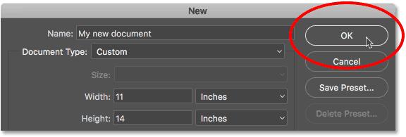 Нажмите кнопку ОК, чтобы создать новый пользовательский документ Photoshop.