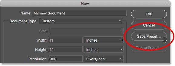 Нажмите кнопку «Сохранить стиль» в устаревшем диалоговом окне «Новый документ».