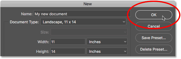 Нажмите кнопку ОК, чтобы создать новый документ Photoshop.
