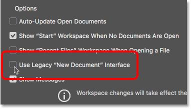 Снимите флажок Использовать устаревший интерфейс нового документа в общих настройках.